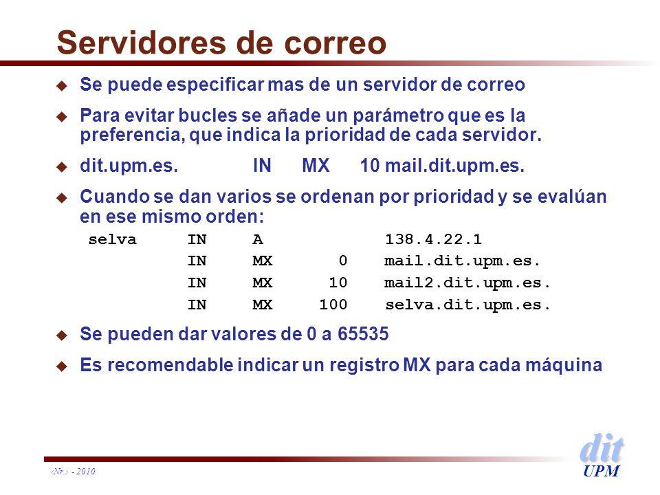 dit UPM Nr. - 2010 Servidores de correo u Se puede especificar mas de un servidor de correo u Para evitar bucles se añade un parámetro que es la prefe