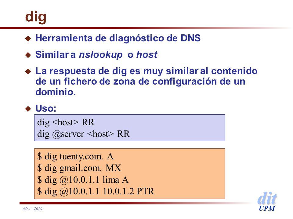 dit UPM dig u Herramienta de diagnóstico de DNS u Similar a nslookup o host u La respuesta de dig es muy similar al contenido de un fichero de zona de