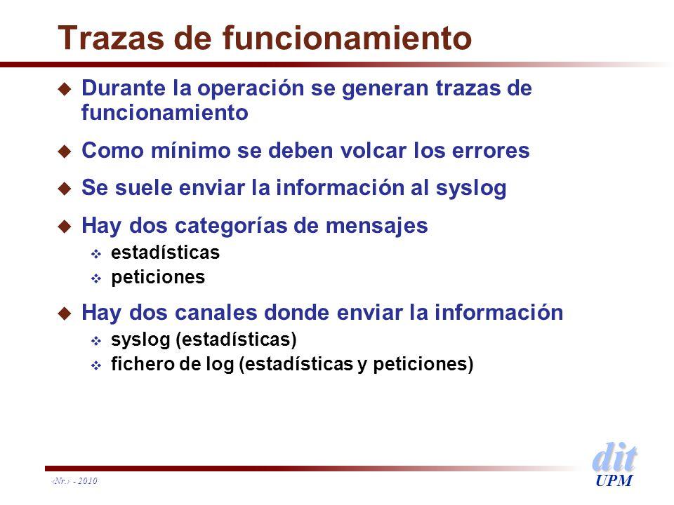 dit UPM Nr. - 2010 Trazas de funcionamiento u Durante la operación se generan trazas de funcionamiento u Como mínimo se deben volcar los errores u Se