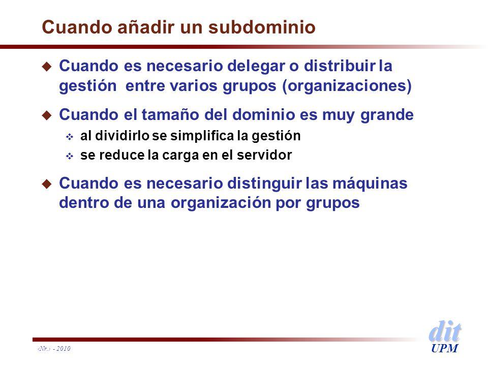 dit UPM Nr. - 2010 Cuando añadir un subdominio u Cuando es necesario delegar o distribuir la gestión entre varios grupos (organizaciones) u Cuando el