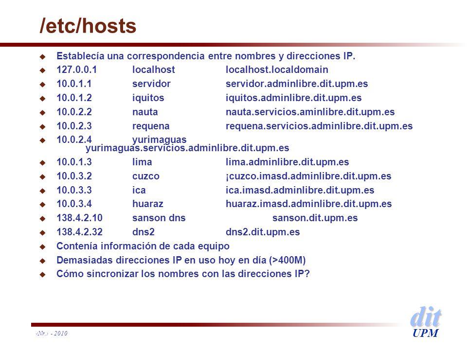 dit UPM /etc/hosts u Establecía una correspondencia entre nombres y direcciones IP. u 127.0.0.1 localhostlocalhost.localdomain u 10.0.1.1servidorservi