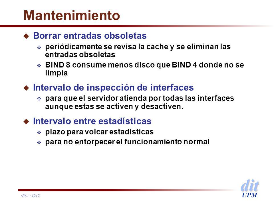 dit UPM Nr. - 2010 Mantenimiento u Borrar entradas obsoletas periódicamente se revisa la cache y se eliminan las entradas obsoletas BIND 8 consume men