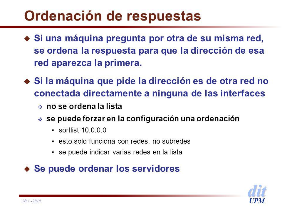 dit UPM Nr. - 2010 Ordenación de respuestas u Si una máquina pregunta por otra de su misma red, se ordena la respuesta para que la dirección de esa re