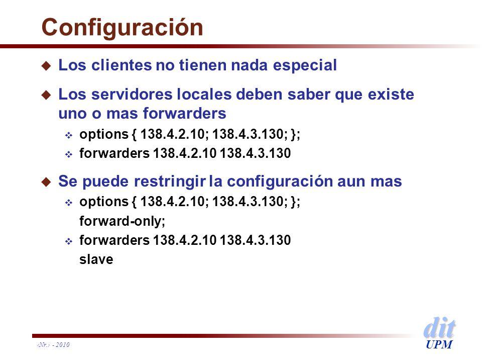 dit UPM Nr. - 2010 Configuración u Los clientes no tienen nada especial u Los servidores locales deben saber que existe uno o mas forwarders options {