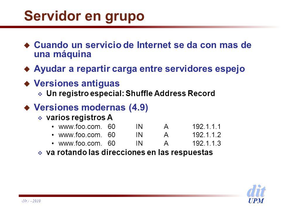 dit UPM Nr. - 2010 Servidor en grupo u Cuando un servicio de Internet se da con mas de una máquina u Ayudar a repartir carga entre servidores espejo u