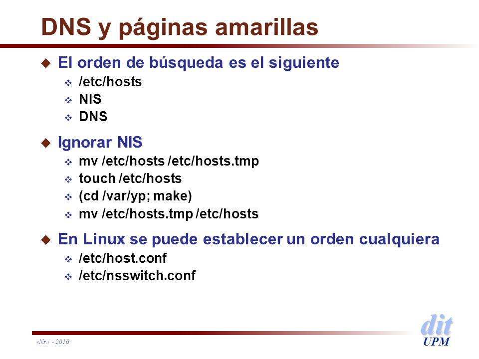 dit UPM Nr. - 2010 DNS y páginas amarillas u El orden de búsqueda es el siguiente /etc/hosts NIS DNS u Ignorar NIS mv /etc/hosts /etc/hosts.tmp touch
