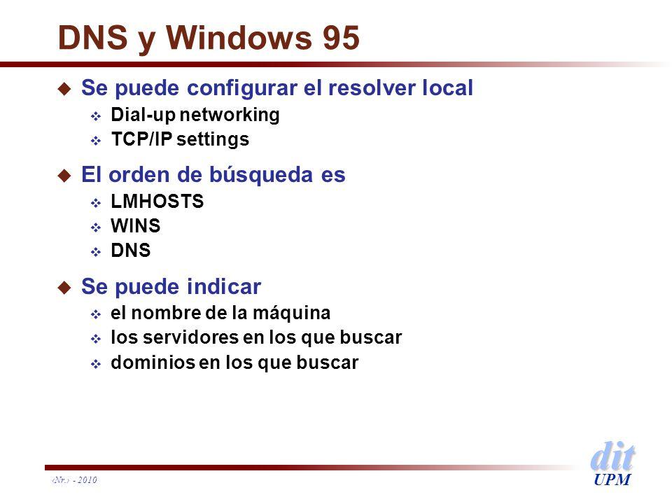 dit UPM Nr. - 2010 DNS y Windows 95 u Se puede configurar el resolver local Dial-up networking TCP/IP settings u El orden de búsqueda es LMHOSTS WINS