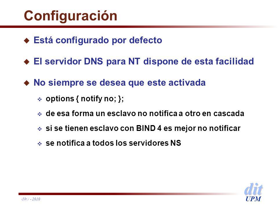 dit UPM Nr. - 2010 Configuración u Está configurado por defecto u El servidor DNS para NT dispone de esta facilidad u No siempre se desea que este act