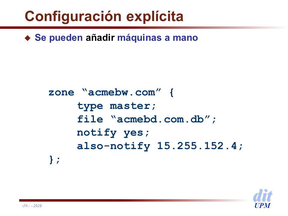 dit UPM Nr. - 2010 Configuración explícita u Se pueden añadir máquinas a mano zone acmebw.com { type master; file acmebd.com.db; notify yes; also-noti