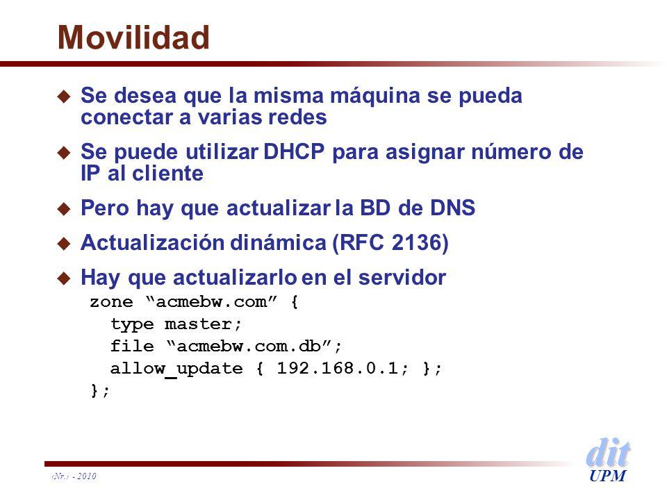 dit UPM Nr. - 2010 Movilidad u Se desea que la misma máquina se pueda conectar a varias redes u Se puede utilizar DHCP para asignar número de IP al cl