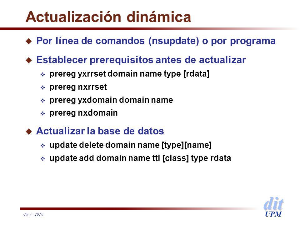 dit UPM Nr. - 2010 Actualización dinámica u Por línea de comandos (nsupdate) o por programa u Establecer prerequisitos antes de actualizar prereg yxrr