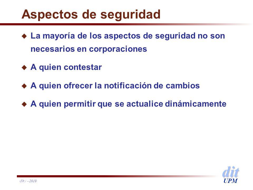 dit UPM Nr. - 2010 Aspectos de seguridad u La mayoría de los aspectos de seguridad no son necesarios en corporaciones u A quien contestar u A quien of