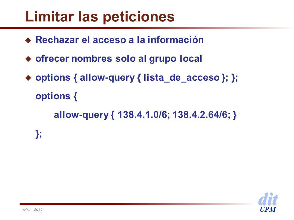 dit UPM Nr. - 2010 Limitar las peticiones u Rechazar el acceso a la información u ofrecer nombres solo al grupo local u options { allow-query { lista_