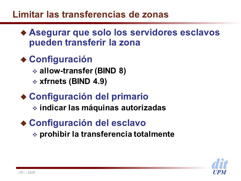 dit UPM Nr. - 2010 Limitar las transferencias de zonas u Asegurar que solo los servidores esclavos pueden transferir la zona u Configuración allow-tra