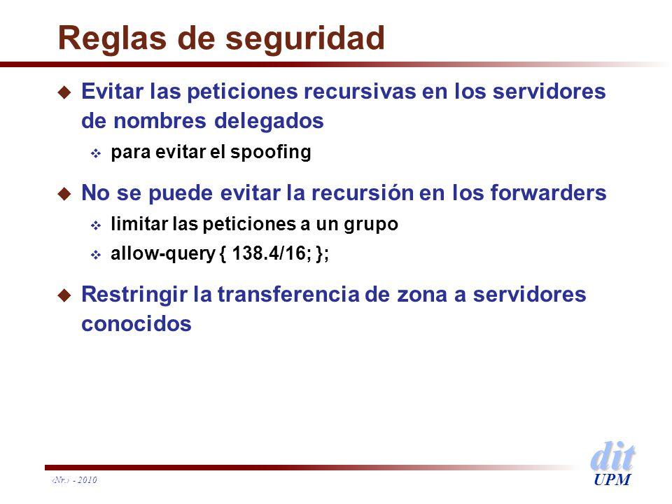 dit UPM Nr. - 2010 Reglas de seguridad u Evitar las peticiones recursivas en los servidores de nombres delegados para evitar el spoofing u No se puede