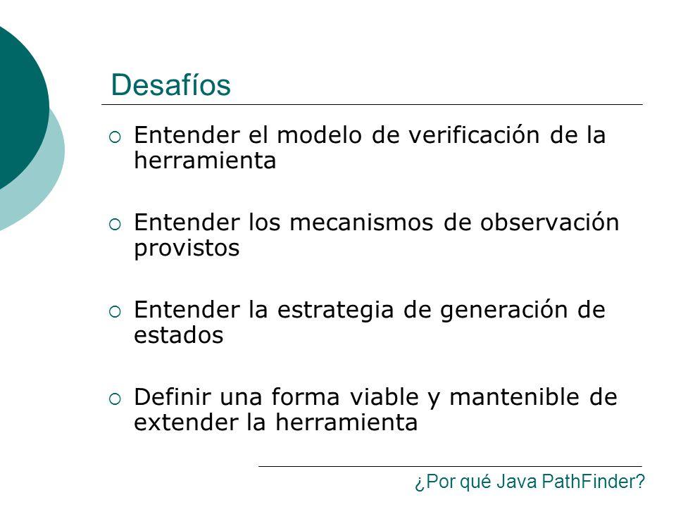 Desafíos Entender el modelo de verificación de la herramienta Entender los mecanismos de observación provistos Entender la estrategia de generación de estados Definir una forma viable y mantenible de extender la herramienta ¿Por qué Java PathFinder