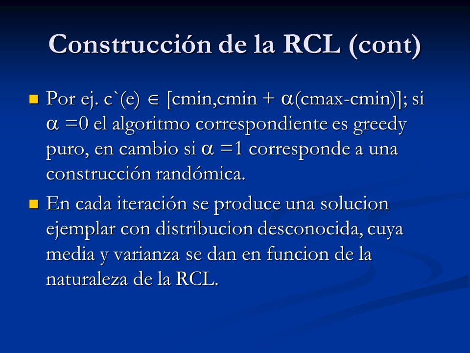 Construcción de la RCL (cont) Por ej. c`(e) [cmin,cmin + (cmax-cmin)]; si =0 el algoritmo correspondiente es greedy puro, en cambio si =1 corresponde