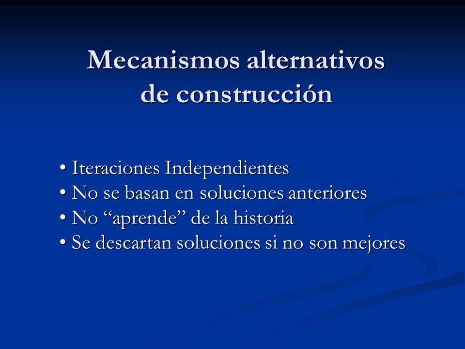 Mecanismos alternativos de construcción Iteraciones Independientes Iteraciones Independientes No se basan en soluciones anteriores No se basan en solu