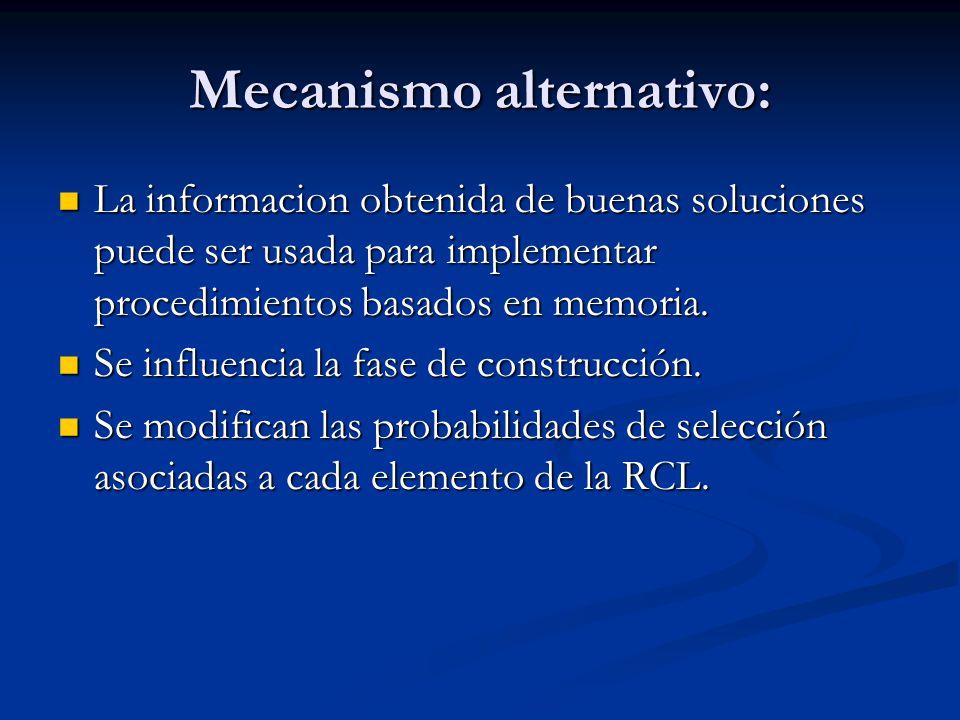 Mecanismo alternativo: La informacion obtenida de buenas soluciones puede ser usada para implementar procedimientos basados en memoria. La informacion