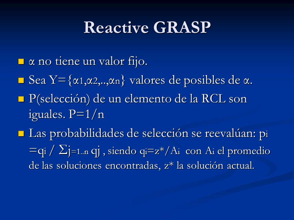 Reactive GRASP α no tiene un valor fijo. α no tiene un valor fijo. Sea Y={α 1,α 2,..,α n } valores de posibles de α. Sea Y={α 1,α 2,..,α n } valores d