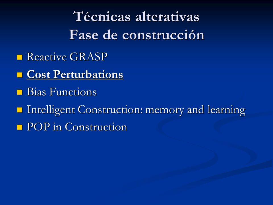 Técnicas alterativas Fase de construcción Reactive GRASP Reactive GRASP Cost Perturbations Cost Perturbations Bias Functions Bias Functions Intelligen