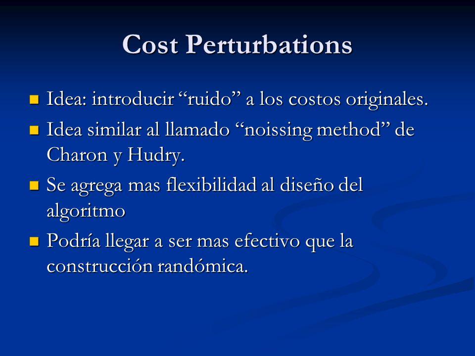 Cost Perturbations Idea: introducir ruido a los costos originales. Idea: introducir ruido a los costos originales. Idea similar al llamado noissing me