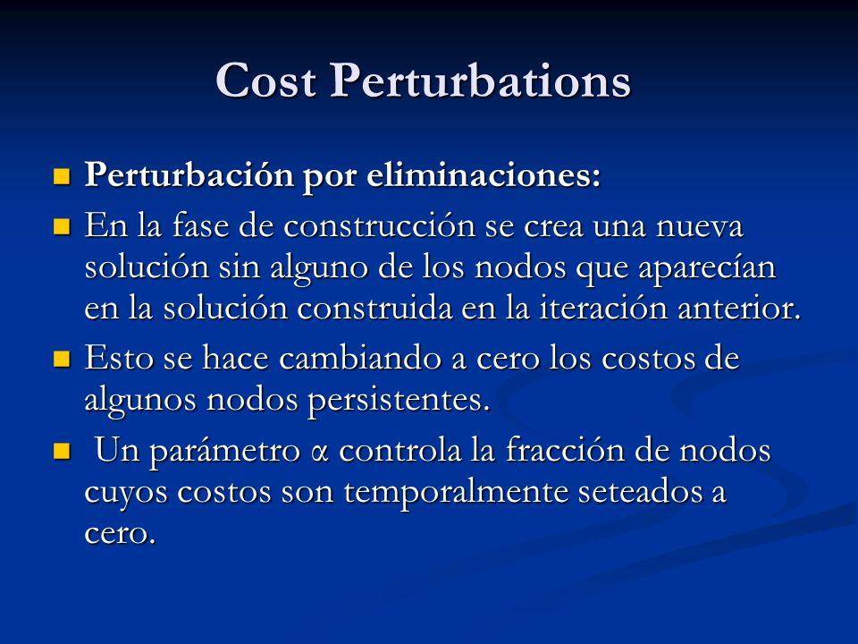 Cost Perturbations Perturbación por eliminaciones: Perturbación por eliminaciones: En la fase de construcción se crea una nueva solución sin alguno de