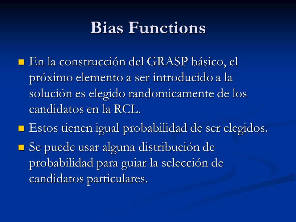 Bias Functions En la construcción del GRASP básico, el próximo elemento a ser introducido a la solución es elegido randomicamente de los candidatos en