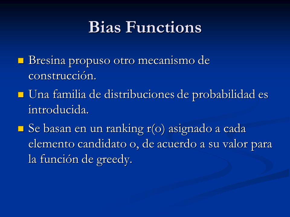 Bias Functions Bresina propuso otro mecanismo de construcción. Bresina propuso otro mecanismo de construcción. Una familia de distribuciones de probab