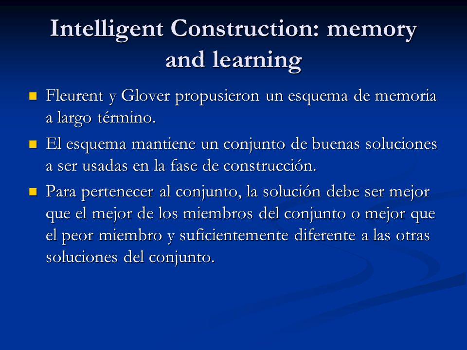 Intelligent Construction: memory and learning Fleurent y Glover propusieron un esquema de memoria a largo término. Fleurent y Glover propusieron un es