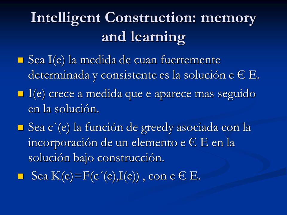 Intelligent Construction: memory and learning Sea I(e) la medida de cuan fuertemente determinada y consistente es la solución e Є E. Sea I(e) la medid