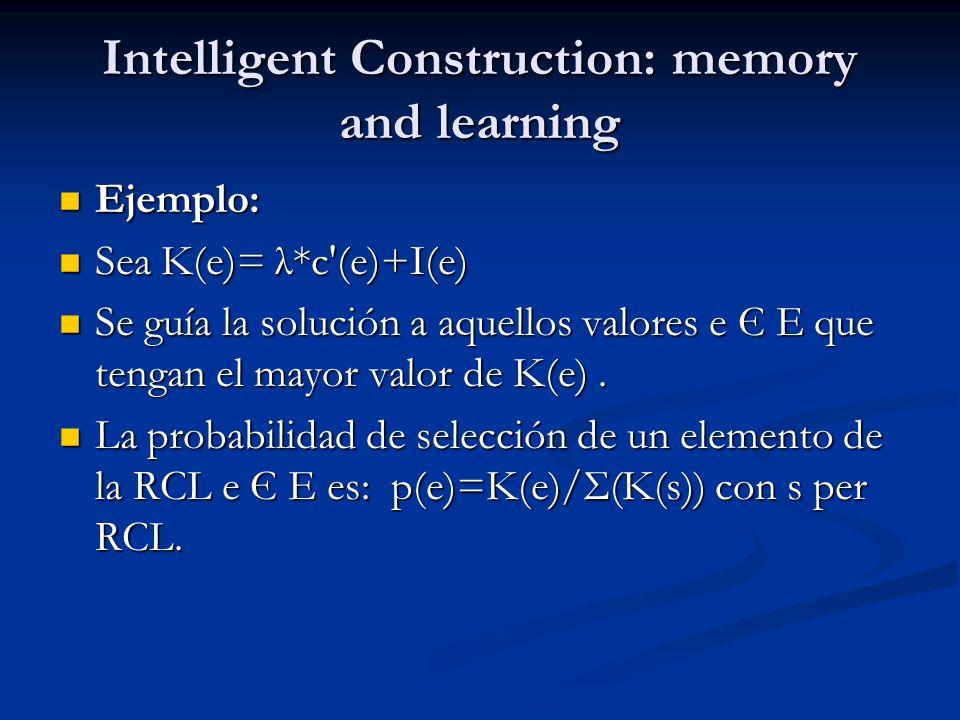 Intelligent Construction: memory and learning Ejemplo: Ejemplo: Sea K(e)= λ*c'(e)+I(e) Sea K(e)= λ*c'(e)+I(e) Se guía la solución a aquellos valores e