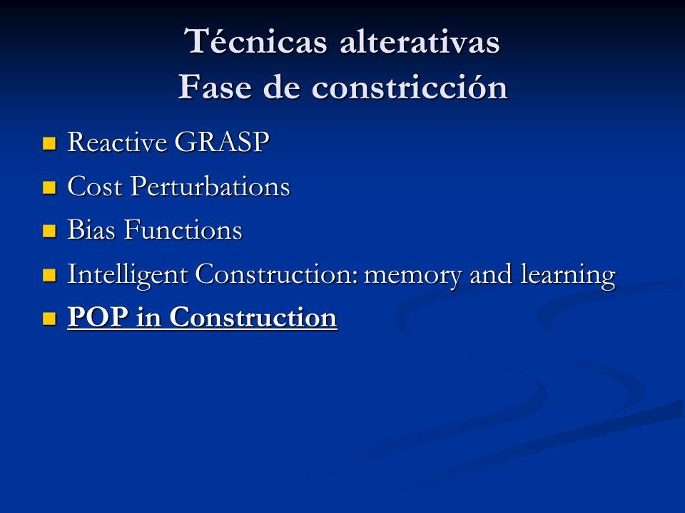 Técnicas alterativas Fase de constricción Reactive GRASP Reactive GRASP Cost Perturbations Cost Perturbations Bias Functions Bias Functions Intelligen