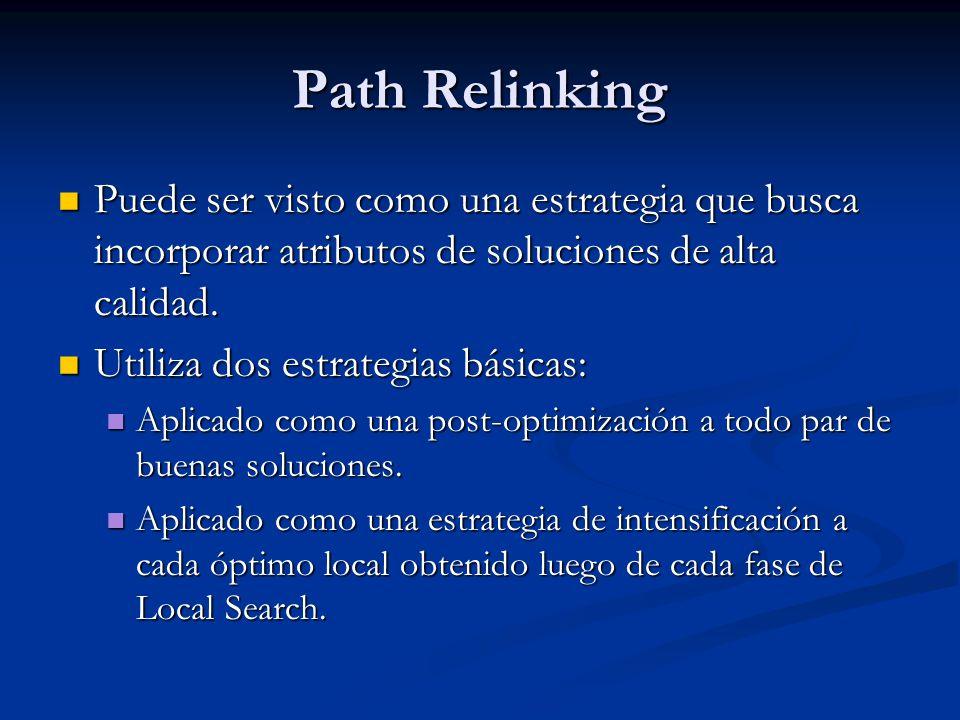 Path Relinking Puede ser visto como una estrategia que busca incorporar atributos de soluciones de alta calidad. Puede ser visto como una estrategia q