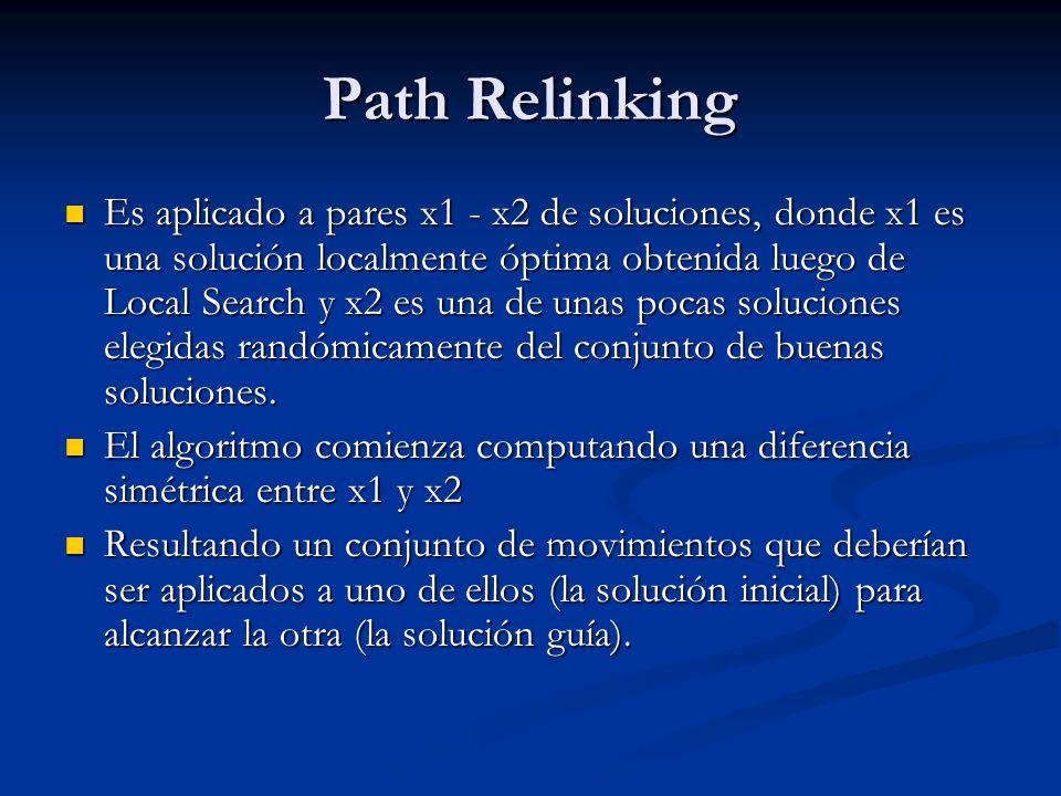 Path Relinking Es aplicado a pares x1 - x2 de soluciones, donde x1 es una solución localmente óptima obtenida luego de Local Search y x2 es una de una