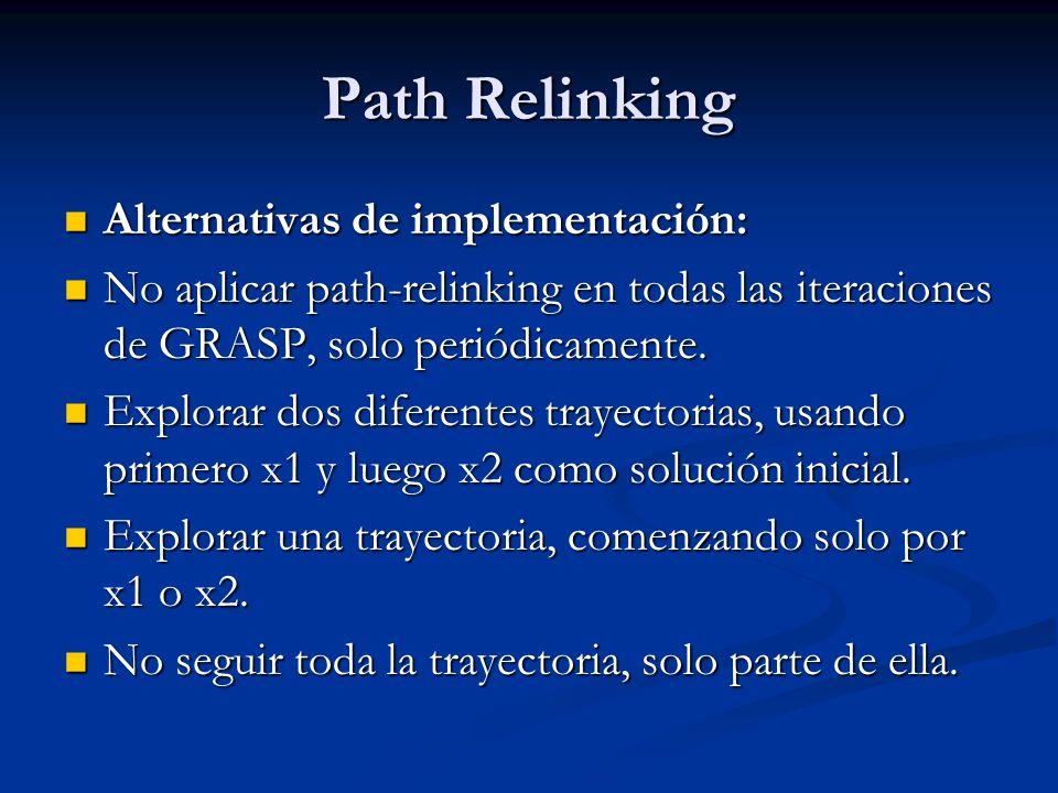 Path Relinking Alternativas de implementación: Alternativas de implementación: No aplicar path-relinking en todas las iteraciones de GRASP, solo perió