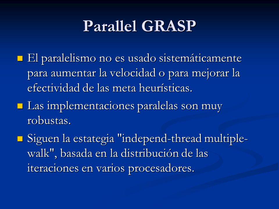 Parallel GRASP El paralelismo no es usado sistemáticamente para aumentar la velocidad o para mejorar la efectividad de las meta heurísticas. El parale