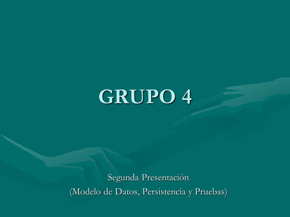 GRUPO 4 Segunda Presentación (Modelo de Datos, Persistencia y Pruebas)