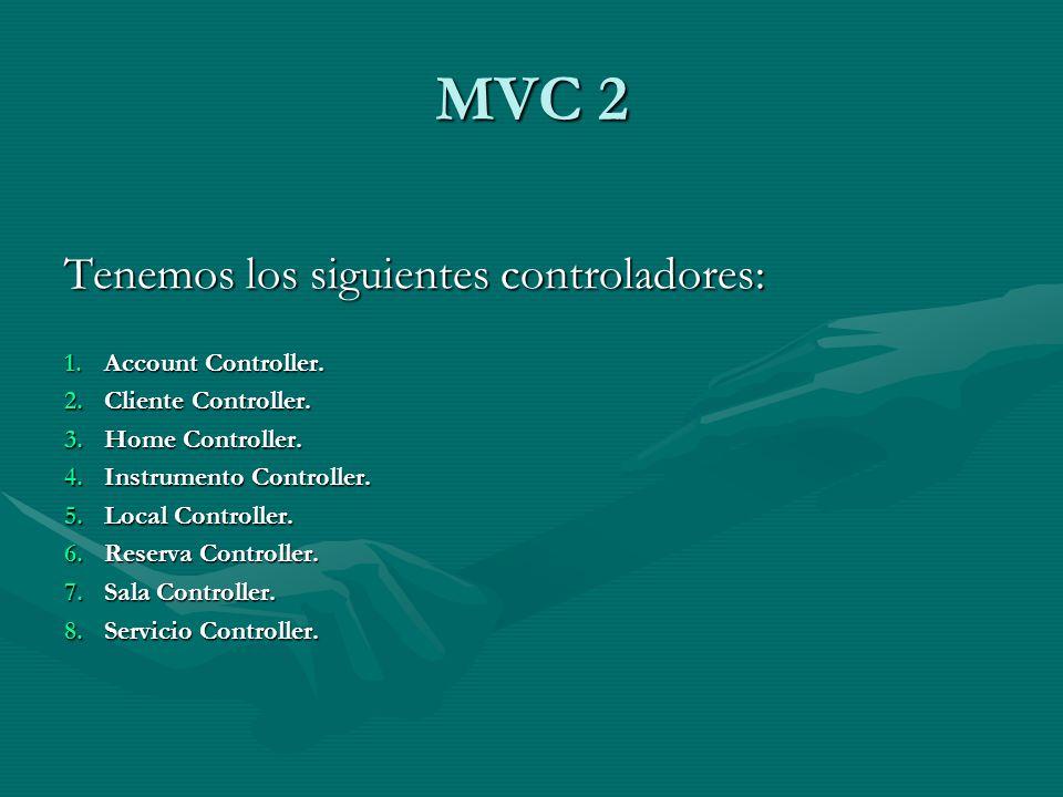 MVC 2 Tenemos los siguientes controladores: 1.Account Controller.