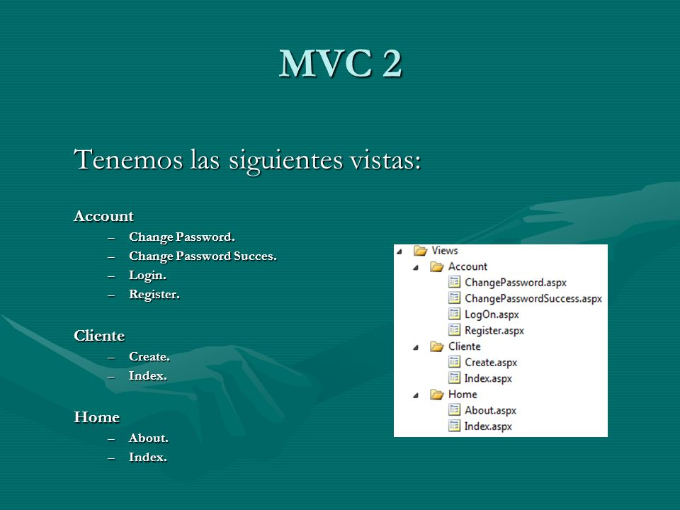 MVC 2 Tenemos las siguientes vistas: Account –Change Password. –Change Password Succes. –Login. –Register. Cliente –Create. –Index. Home –About. –Inde