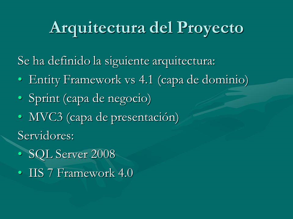 Arquitectura del Proyecto Se ha definido la siguiente arquitectura: Entity Framework vs 4.1 (capa de dominio)Entity Framework vs 4.1 (capa de dominio) Sprint (capa de negocio)Sprint (capa de negocio) MVC3 (capa de presentación)MVC3 (capa de presentación)Servidores: SQL Server 2008SQL Server 2008 IIS 7 Framework 4.0IIS 7 Framework 4.0