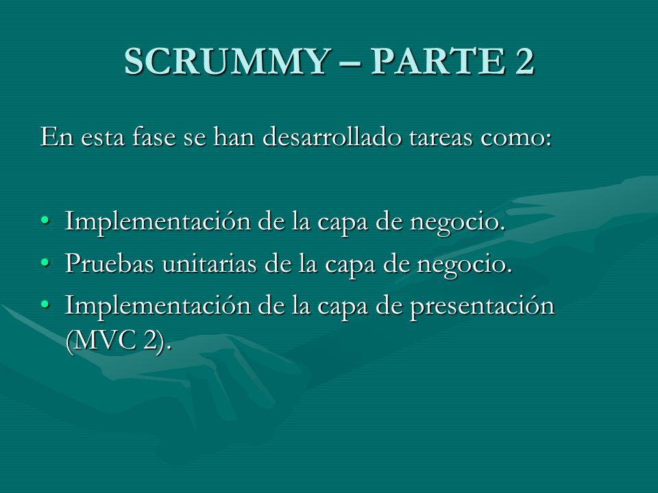 SCRUMMY – PARTE 2 En esta fase se han desarrollado tareas como: Implementación de la capa de negocio.Implementación de la capa de negocio. Pruebas uni