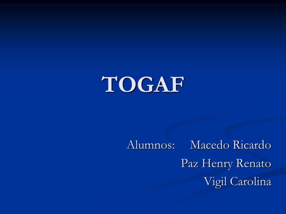 Empresas que Aplican TOGAF Proyecto de implementación de TOGAF en FORSAC Proyecto de implementación de TOGAF en FORSAC Alcance: Alcance: Todos los sistemas administrativos (Logística, ventas, contabilidad y recursos humanos), cubriendo los 4 tipos de arquitectura (negocios, data, aplicaciones e infraestructura).