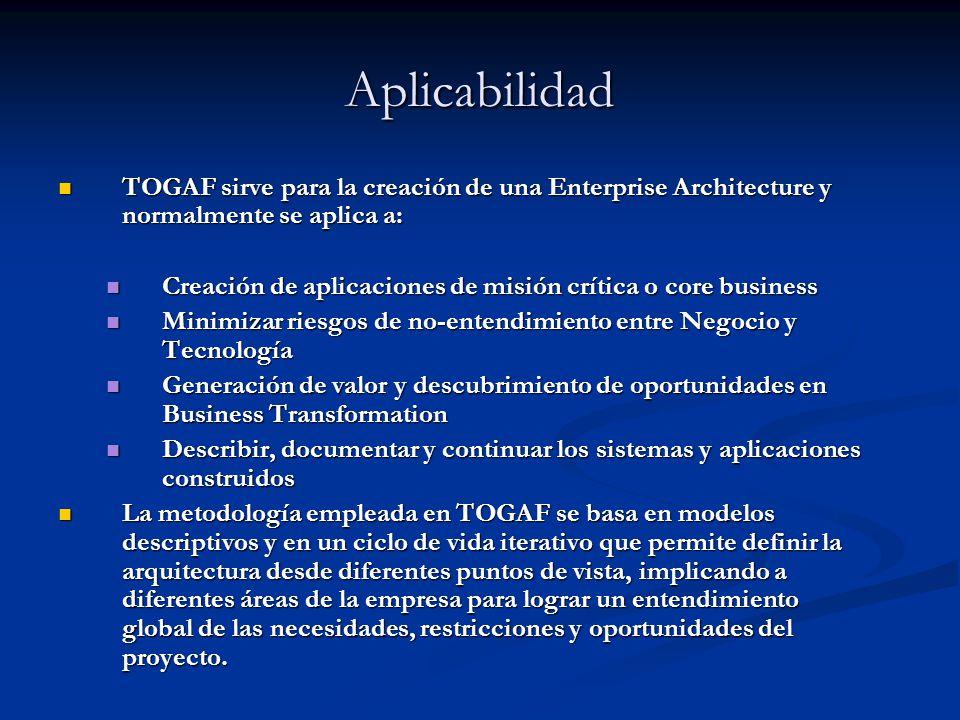 Aplicabilidad TOGAF sirve para la creación de una Enterprise Architecture y normalmente se aplica a: TOGAF sirve para la creación de una Enterprise Ar