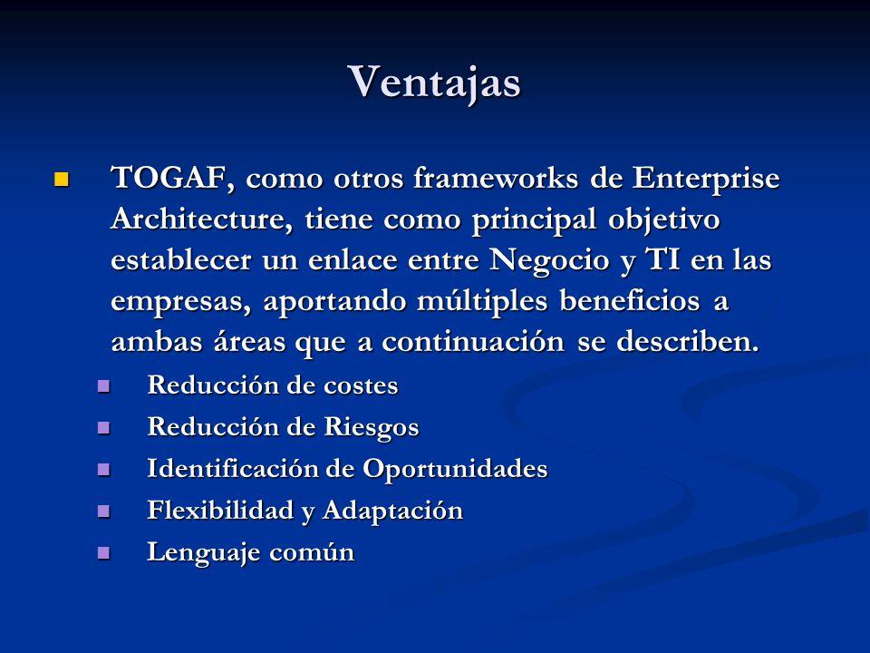 Ventajas TOGAF, como otros frameworks de Enterprise Architecture, tiene como principal objetivo establecer un enlace entre Negocio y TI en las empresa