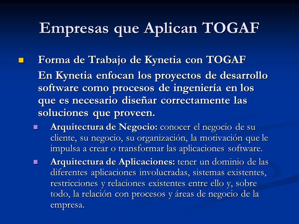 Empresas que Aplican TOGAF Forma de Trabajo de Kynetia con TOGAF Forma de Trabajo de Kynetia con TOGAF En Kynetia enfocan los proyectos de desarrollo
