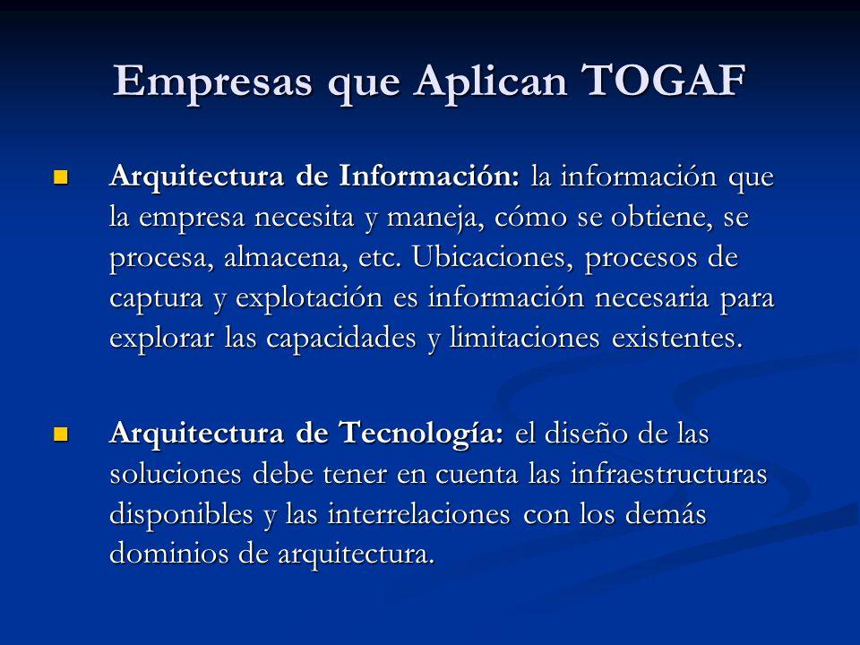 Empresas que Aplican TOGAF Arquitectura de Información: la información que la empresa necesita y maneja, cómo se obtiene, se procesa, almacena, etc. U