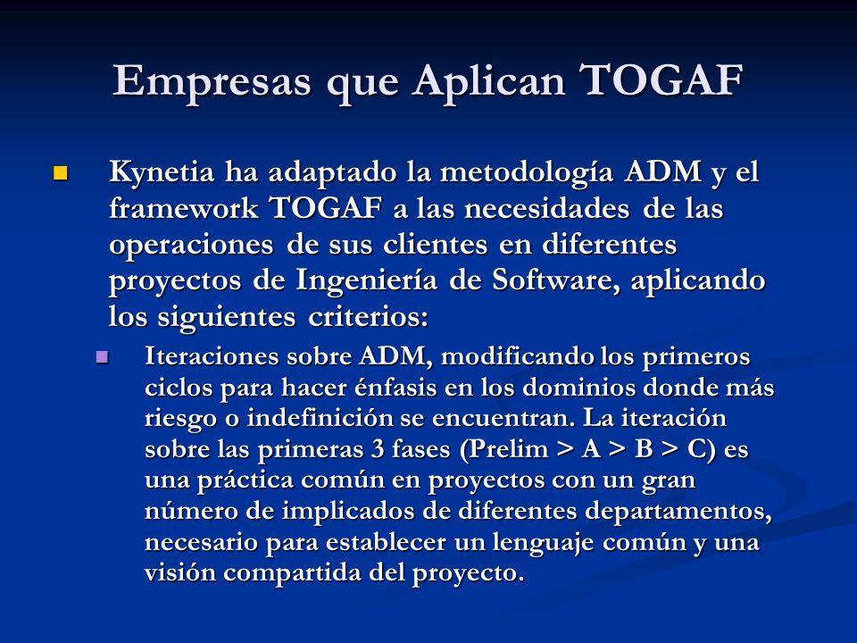 Empresas que Aplican TOGAF Kynetia ha adaptado la metodología ADM y el framework TOGAF a las necesidades de las operaciones de sus clientes en diferen