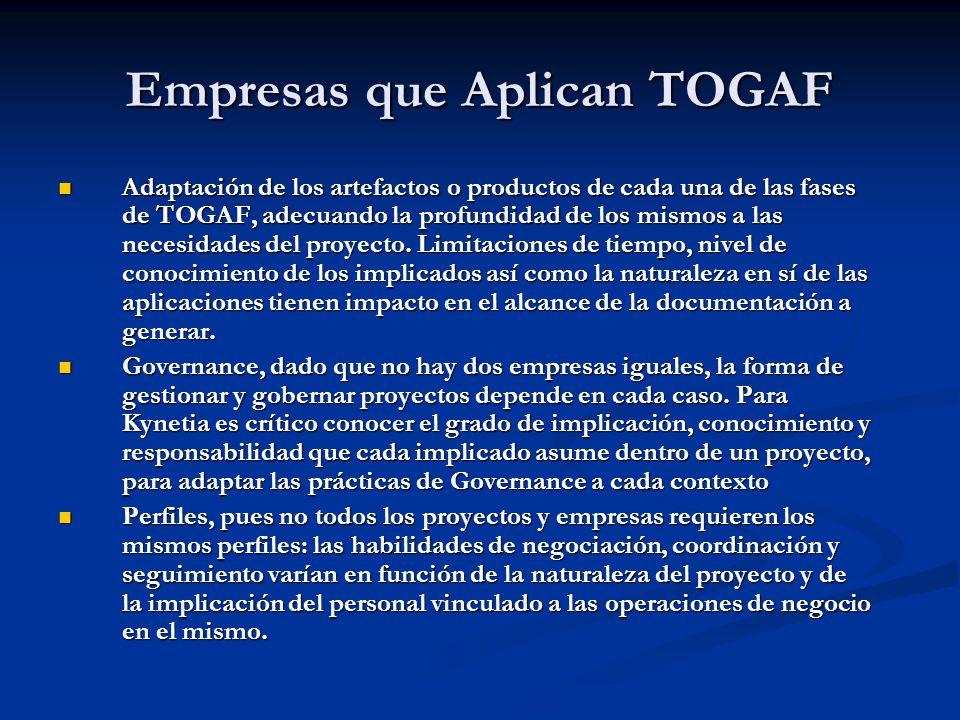 Empresas que Aplican TOGAF Adaptación de los artefactos o productos de cada una de las fases de TOGAF, adecuando la profundidad de los mismos a las ne