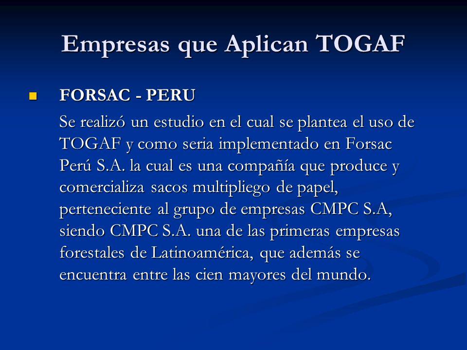 Empresas que Aplican TOGAF FORSAC - PERU FORSAC - PERU Se realizó un estudio en el cual se plantea el uso de TOGAF y como seria implementado en Forsac